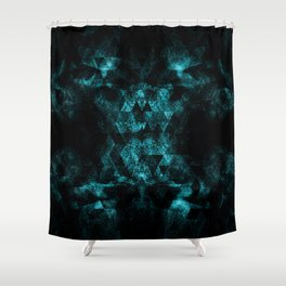 Triangle Geometric Turquoise Smoky Space Shower Curtain