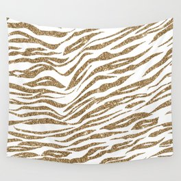 White & Glitter Animal Print Pattern Wall Tapestry
