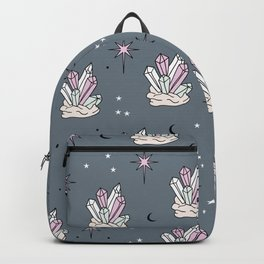 Trust the universe magic gem stones stars and moon cool gray blue night Backpack