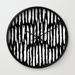 Vertical Dash White on Black Paint Stripes Wall Clock