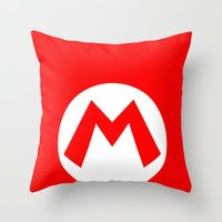 nintendo Throw Pillows featuring Nintendo Mario by JAGraphic