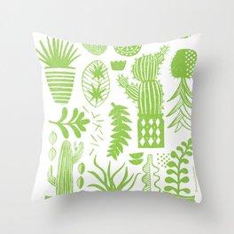 Cactii Textured Print Pattern Throw Pillow