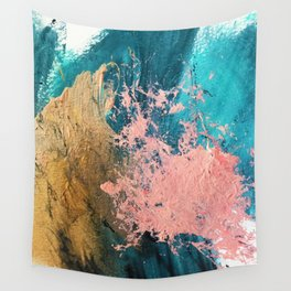 Coral Reef [1]: colorful abstract in blue, teal, gold, and pink Wall Tapestry
