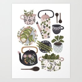 Plates, Pots & Tea Art Print