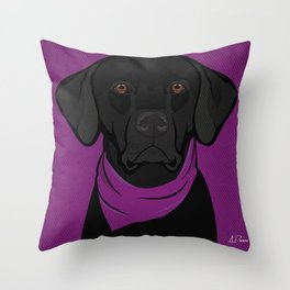 Icons of the Dog Park: Black Labrador Design in Bold Colors for Pet Lovers Throw Pillow
