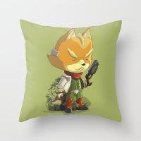 starfox Throw Pillows featuring Fox by Rod Perich