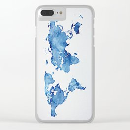 Blue World Map 03 Clear iPhone Case