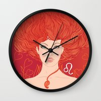 zodiac Wall Clocks featuring Zodiac Leo by Varvara Gorbash