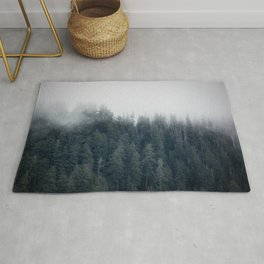 Misty Morning - Fog Rises off Mountains Revealing Forest in Washington Rug