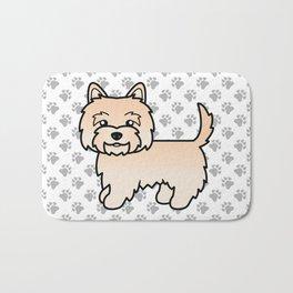 Cute Cream Cairn Terrier Dog Cartoon Illustration Bath Mat