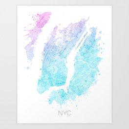 New York City Watercolor Map #5 Art Print