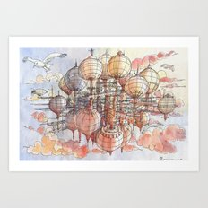 The flying  village Art Print