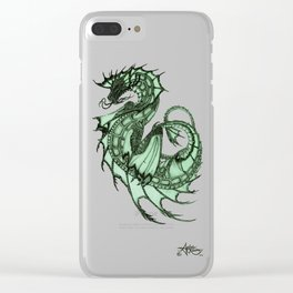 """Tsunami"" by Amber Marine ~ Sea Dragon (Jade Version) ~ Graphite Illustration, (Copyright 2005) Clear iPhone Case"