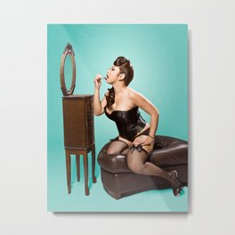 """""""Touch-up"""" - The Playful Pinup - Sexy Pinup Girl Refreshing Lipstick by Maxwell H. Johnson Metal Print"""