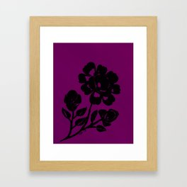 Royal Purple Rose Silhouette Original Design Done with Acrylics Framed Art Print