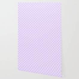 Large Chalky Pale Lilac Pastel Checkerboard Wallpaper
