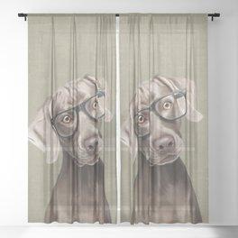 Mr Weimaraner Sheer Curtain