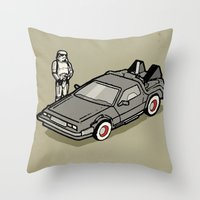 delorean Throw Pillows featuring Stormtrooper and his Delorean by Vin Zzep