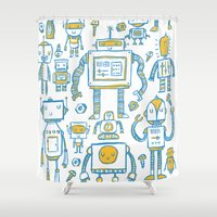 robots Shower Curtains featuring Robots by Peter Clayton