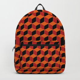 Retro 70s inspired Optical Illusion Hexagons and Cubes Backpack