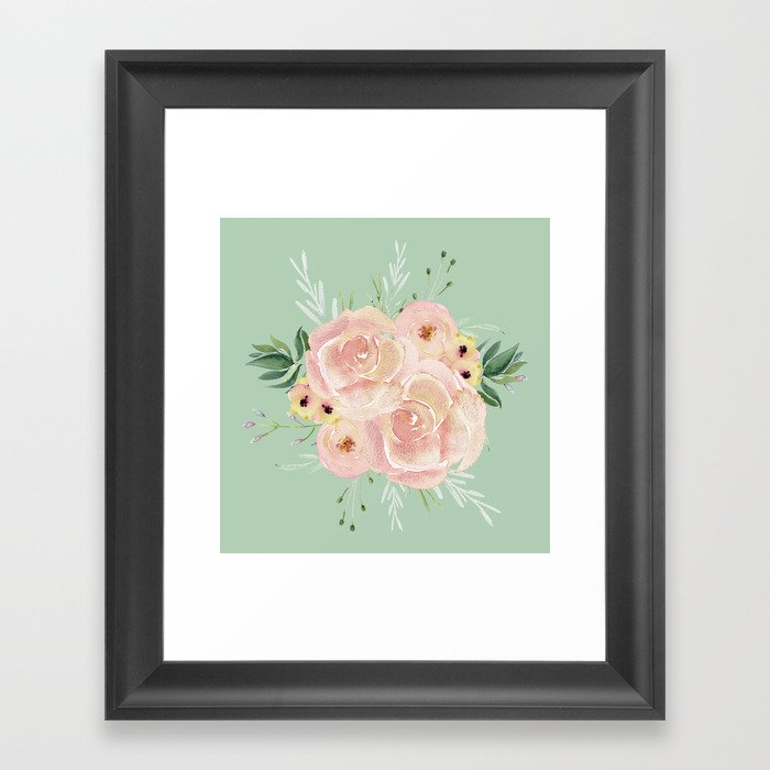 Wild Roses on Pastel Cactus Green Framed Art Print