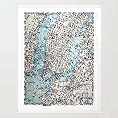 Vintage Map of New York Art Print