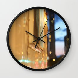 Hot dog cart light reflections Granville St Vancouver Wall Clock