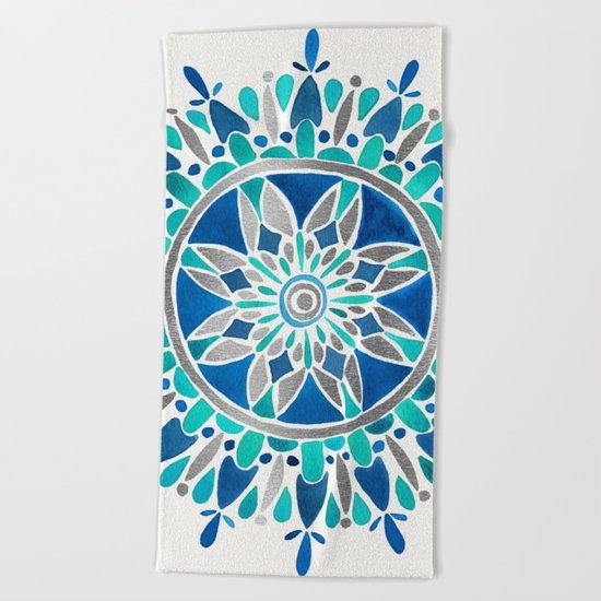 Mandala – Silver & Blue Beach Towel
