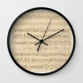 vintage beige music notes Wall Clock