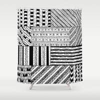 black white Shower Curtains featuring Black&White White&Black by Kaitlyn_Michelle_