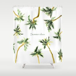 Summer vibes || watercolor palms Shower Curtain