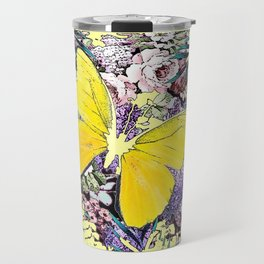 CONTEMPORARY YELLOW  BUTTERFLY FLOWER FLORAL DRAWING Travel Mug