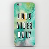 good vibes only iPhone & iPod Skins featuring Good Vibes Only by Crafty Lemon