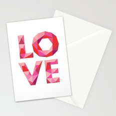 Red Faceted Love Stacked Stationery Cards