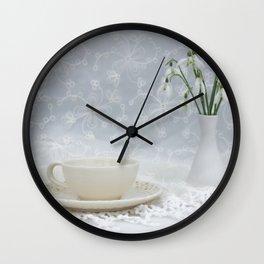 Snowdrops at Teatime Wall Clock