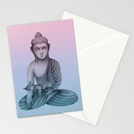 Buddha with cat 1 Stationery Cards