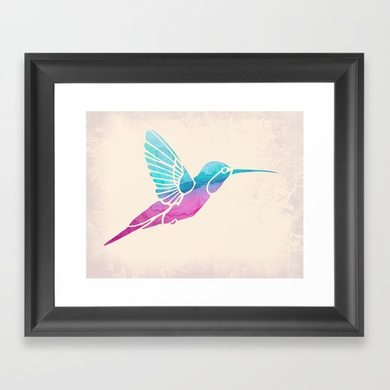 Watercolor Hummingbird Framed Art Print