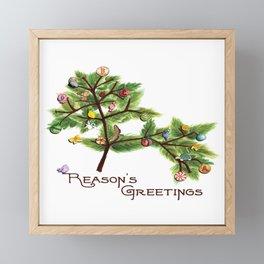 Atheist Christmas Charles Darwin Reason's Greetings sq Framed Mini Art Print