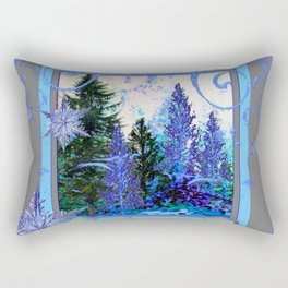 ORNATE BLUE-GREY WINTER SNOWFLAKES FOREST ART Rectangular Pillow