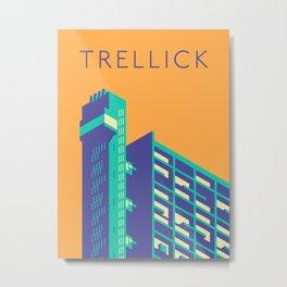 Trellick Tower London Brutalist Architecture - Text Apricot Metal Print