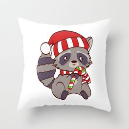 Spiritual Xmas Animal T-shirt Design Cute Christmas Cutie Raccoon Holding A Sweet Candy Cane Throw Pillow