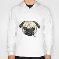 smoking Hoodies featuring Smoking Pug by Beth Zimmerman Illustration