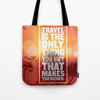 quotes Tote Bags featuring Quotes - Travel by MehrFarbeimLeben