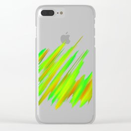 Colorful neon green brush strokes on dark gray Clear iPhone Case