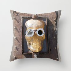 Steampunk Pirate Skull Throw Pillow