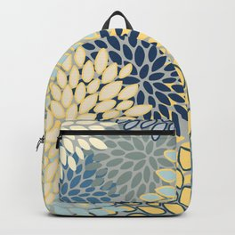 Floral Print, Yellow, Gray, Blue, Teal Backpack