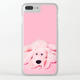 Pink Dog on Pink Background Clear iPhone Case
