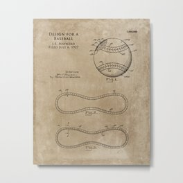 1928 Baseball Ball Patent Metal Print