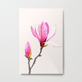 magnolia watercolor painting Metal Print