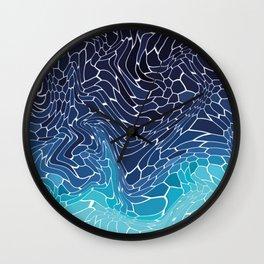 blue water wave mosaic colorgrade Wall Clock